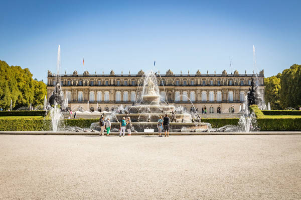 Schloss Herrenchiemsee mit Wasserspielen und Latonabrunnen